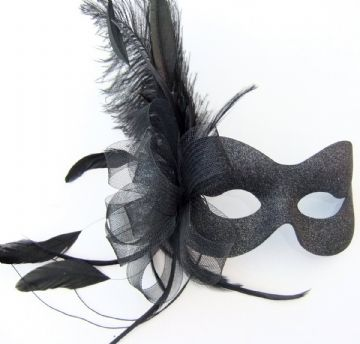 Burlesque style feather sparkle mask (5 diff colour options avail)